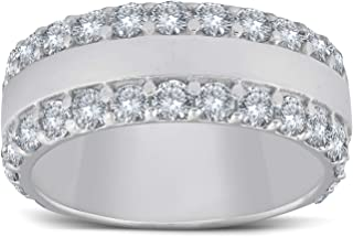 2 3/4ct Diamond Double Row 8mm Wide Wedding Band 14K White Gold