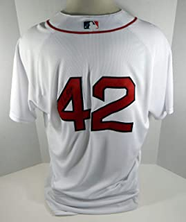 2017 Boston Red Sox Dana LeVangie #42 Game Used White Jackie Robinson Jersey - Game Used MLB Jerseys