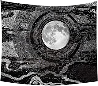 Ecosin Psychedelic Moon and Sun Tapestry Painting Wall Hanging Art for Living Room Bedroom Dorm Bedspread Yoga Mat Beach Towel Home Decor New (A)