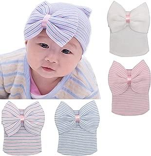 BQUBO Newborn Hospital Hat Infant Baby Hat Cap with Big Bow Soft Cute Knot Nursery Beanie