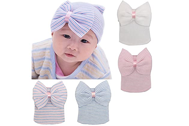 f7ed2cd91a5 DRESHOW BQUBO Newborn Hospital Hat Infant Baby Hat Cap with Big Bow Soft  Cute Knot Nursery Beanie