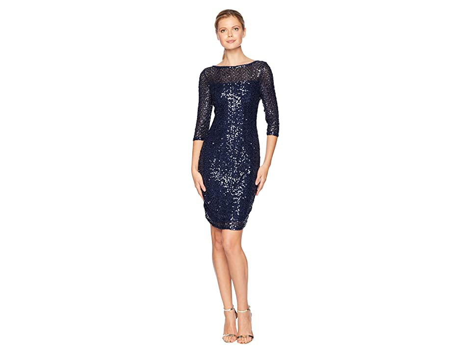 MARINA Short Slim Sequin Dress with 3/4 Sleeves and V-Back (Navy) Women