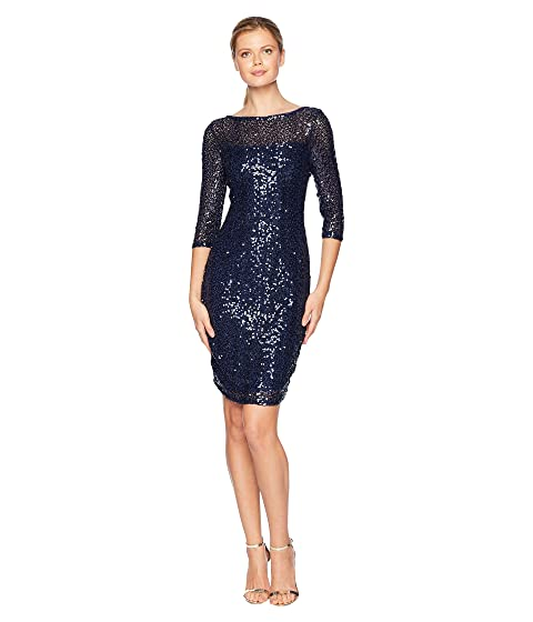 b6f2f8f13c9 MARINA Short Slim Sequin Dress with 3 4 Sleeves and V-Back at 6pm