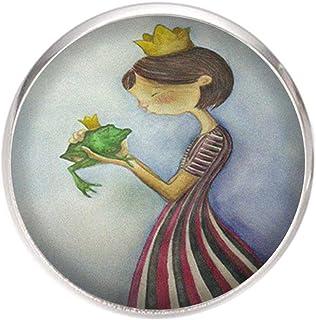 Spilla con perno in acciaio inossidabile, diametro 25 mm, spillo 0,7 mm, Fatto a Mano, Illustrazione Principessa e Rana