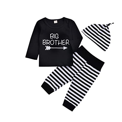 9e5fc8e710f1d Baby Boy Little Big Brother Romper + Pants Arrow Letter Printed T-Shirt +  Striped