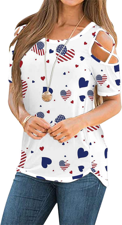 FABIURT Tops for Women, Women's Fashion Cold Shoulder T Shirts Summer Casual Loose Short Sleeve Blouse Shirts Tunic Tops