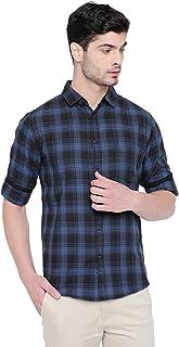 Dennis Lingo Men's Checkered Rust Slim Fit Casual Shirt