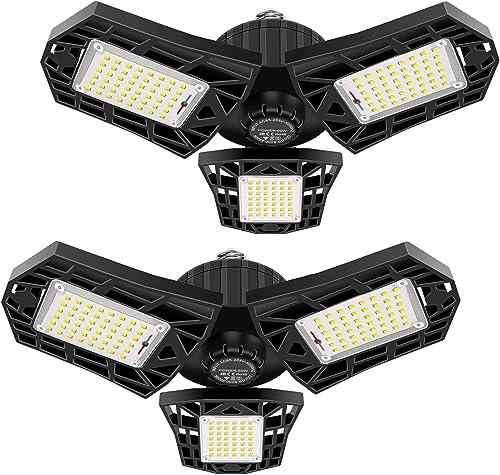 2-Pack LED Garage Light 60W Garage Lighting - 6000LM 6500K LED Deformable Garage Ceiling Lights, LED Shop Light with ...