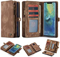 Spritech iPhone Xs Max Wallet Case,Handmade Leather Large Capacity Detachable Zipper Wallet Cover for iPhone Xs Max(6.5 inch) SPT-HGEM-0275-0025