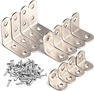 WXJ13 3 Sizes Corner Brackets Right Angle Brackets L Bracket Heavy Duty with Screws, 12 Sets (Each Size 4 Sets)