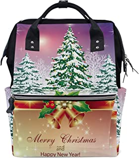 Laptop Backpack, Christmas Bell with Tree Diaper Bag Backpack Travel Backpack for Women and Men