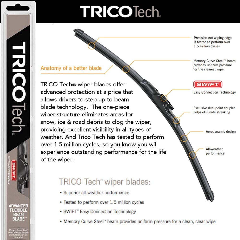 Wiper Blades Set for 2015 Toyota Tacoma Driver//Pass Trico Steel Wipers Set of 2 Bundled with MicroFiber Interior Car Cloth