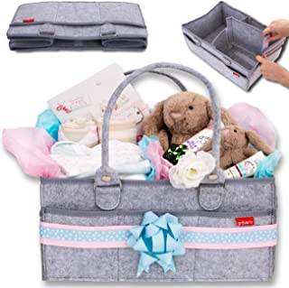 Groverly Baby Diaper Caddy Organizer - Baby Gift Basket   Portable Nursery Changing Table Storage Bag   Removable Handles Grey   Arts Craft Toy Caddy