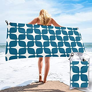 "ANYA TOPSHOP Ultra Soft Beach Towel Minimalism Mid Century Modern Star Pattern Peacock Blue Bath Towel with Bag, Microfiber Throw Towel Fast Dry Lightweight Hand Towel for Yoga 27.5""X55"""