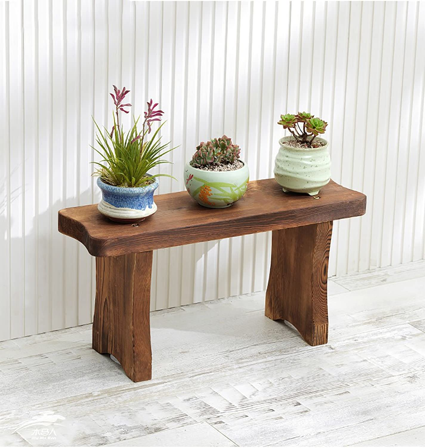 QING MEI Flower Stand Wooden Stepped Balcony Flower Shelf Living Room Solid Wood Multi-Storey Floor Space Flower Pot A++ (Size   60×17×30cm)