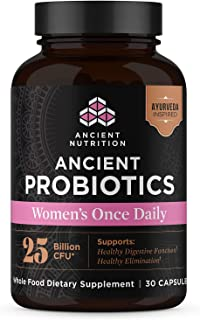 Ancient Nutrition, Ancient Probiotics Women's Once Daily, 25 Billion CFU, Healthy Digestive Function, Shelf Stable, 30 Capsules