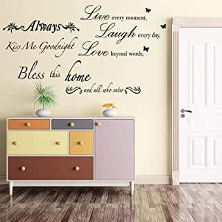 4 Sheets Wall Quote Decorations Bless This Home Wall Decals Kiss Me GoodnightWarmWallStickersQuotes forLivingRoomBe...