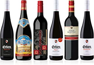 Liebliches Rotwein Probierpaket 5 x 0.75 l, 1 x 1l 6 Flaschen verschiedene Rotweine für Ihre Weinprobe, Ideales Wein Geschenk Set