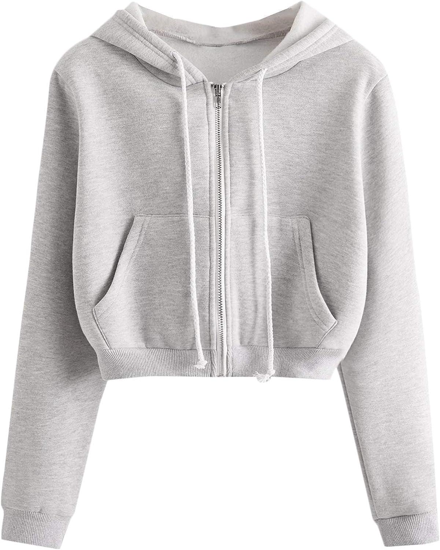 SheIn Women's Crop Zip Up Hoodie Pocket Drawstring Basic Zipper Hooded Sweatshirt