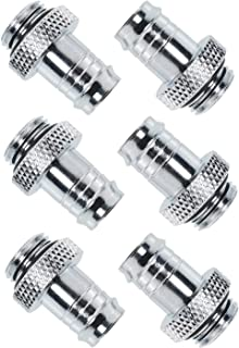CSNSD Tube Connector 6PCS G1/4 to 3/8Inch Barb Fitting for Soft Tubing PC Water Cooling System Silver