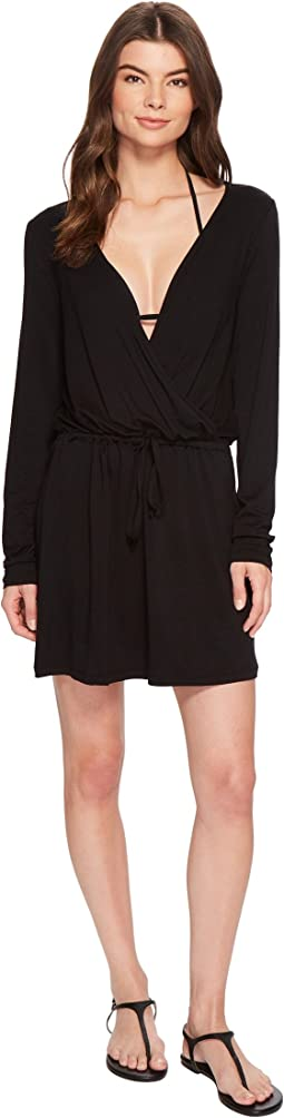Frenchie Solids Long Sleeve Tunic Dress Cover-Up