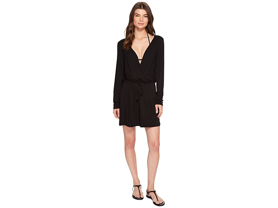 Kenneth Cole Frenchie Solids Long Sleeve Tunic Dress Cover-Up (Black) Women