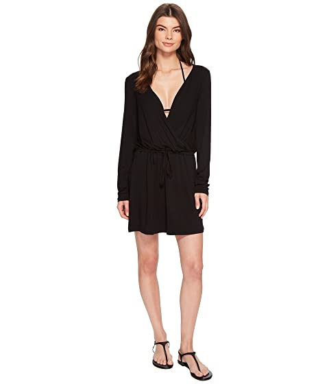 Frenchie Solids Long Sleeve Tunic Dress Cover-Up, Black