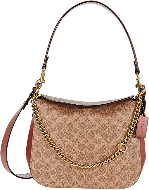 코치 시그니처 체인 호보백 COACH Signature Chain Hobo,B4/Tan Rust
