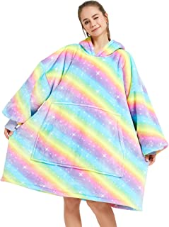 Oversized Wearable Blanket for Women and Girls, Rainbow | Extra Long, with Hood and Front Pocket | Super Warm Comfy Blanke...