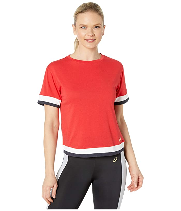 ASICS  Tokyo Short Sleeve Train Top (Classic Red/Brilliant White) Womens Clothing