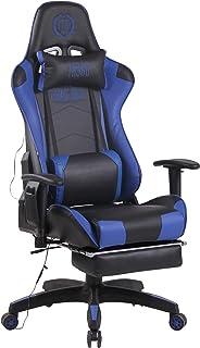 CLP Silla, sillas, Funcion Masaje, masajeadora, Masaje, de Oficina, de Ordenador, de Escritorio, Gaming, Gamer, newskill, con reposapies, Masaje, Color:Negro/Azul
