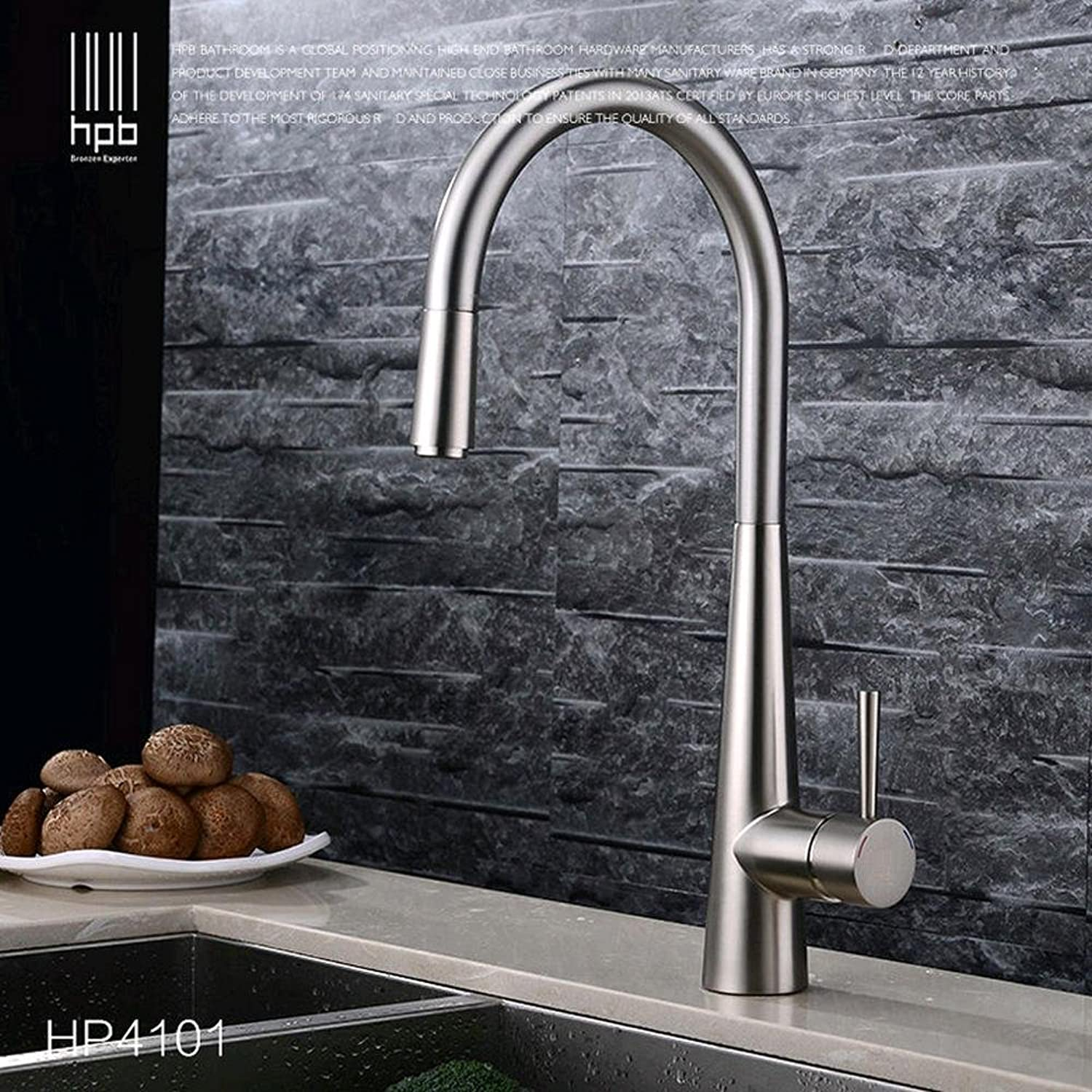 BingHaiY Brass Brushed Chrome Pull Out Deck Mounted Hot And Cold Water Kitchen Mixer Tap Pb-free Sink Faucet torneira cozinha