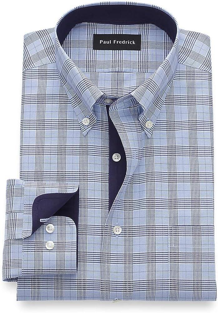 Paul Fredrick Men's Tailored Fit Non-Iron Cotton Glen Plaid Dress Shirt