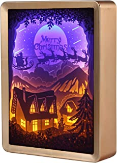 WOMHOPE Christmas Papercut Light Boxes Frame Paper Sculptures LED Night Light Lamp of Creative 3D Shadow Paintings Light Xmas Gift (Village (Gold Frame))