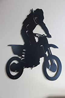 Metal Dirt Bike Wall Plaque Boys Bedroom