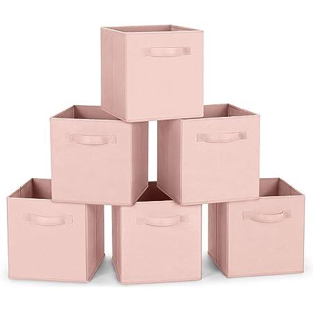 Amazon Brand – Umi Cube de Rangement Tissu, Panier de Rangement, Caisse de Rangement, casier Rangement, Rangement Vetement, Boite de Rangement Tissu, 26,7 x 26,7 x 27,9, Rose