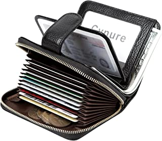 Women's 16 Slots Card Holder Leather Zipper Compact Accordion Wallet with ID Window