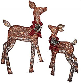 Pre-lit Glittering Champagne Doe and Fawn Deer 2-piece Lawn Christmas Decoration