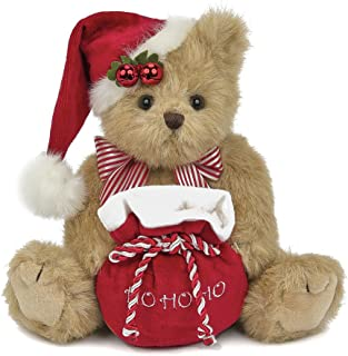 Bearington Jolly Jingles Christmas Stuffed Animal Teddy Bear with Santa Hat, 10 inches