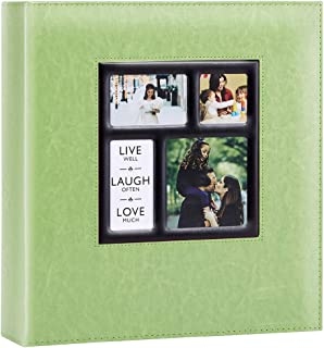 Artmag Photo Picutre Album 4x6 1000 Photos, Extra Large Capacity Leather Cover Wedding Family Photo Albums Holds 1000 Horizontal and Vertical 4x6 Photos with Black Pages (Green)