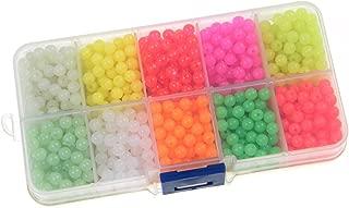 QualyQualy Fishing Beads Assorted,Fishing Tackle Hard Plastic Red Yellow Mix Color Luminous Glow Fishing Beads Bulk Kit