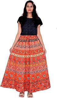 Rajvila 36 Inch Length Women's Cotton Printed Regular Long Elasti Skirt for Women (E_E36NT_0003)