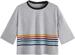 SweatyRocks Women's Cute Rainbow Striped Cropped Tee T-Shirts Summer Short Sleeve Crop Top