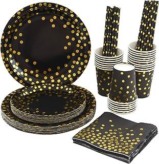 Black and Gold Party Supplies Disposable Party Dinnerware Set 125PCS Black Paper Plates Napkins Cups Serve 25 for Graduati...