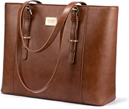 LOVEVOOK Laptop Bag for Women, Structured Leather Computer Bag, Professional Work Tote..