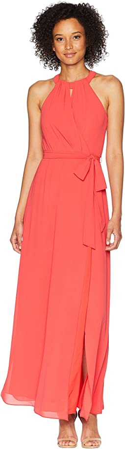 Chiffon Surplice Maxi with Front Keyhole