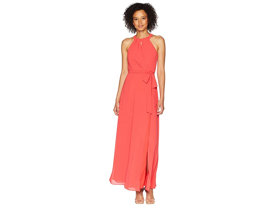 Vince Camuto Chiffon Surplice Maxi with Front Keyhole (Strawberry) Women