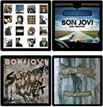 Bon Jovi Collectible Coaster Gift Set #1 ~ (4) Different Album Covers Reproduced on Soft Pliable Coasters