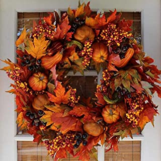 grfamily Fall Wreath for Front Door with Autumn Harvest Maple Leaf, Pumpkin and Berries - 17.72 Inches Fall Door Thanksgiving Garland, Rattan Artificial Wreath Decoration top Sale