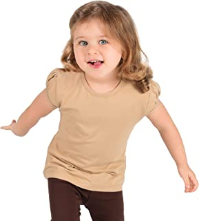 Lilax Girls' Basic Short Puff Sleeve Round Neck Cotton T-Shirt